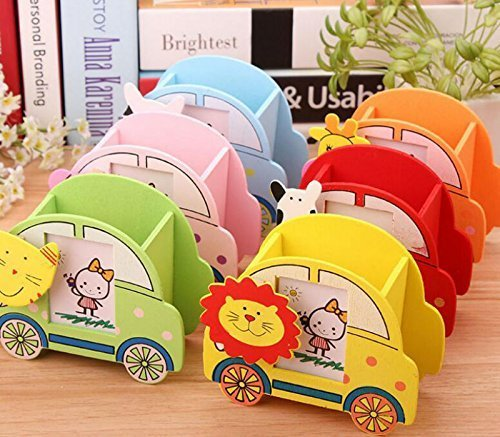 ARVANA Return Gifts for Birthday Party for Kids Pen Stand Holders with Photo Frame Slot , Wooden , Multicoloured - Pack of 6