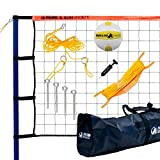 Park & Sun Spiker Sport Steel Orange Portable Outdoor Volleyball Net Set with Bag