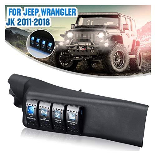 Kit de panel de interruptor de pilar MEI azul 4 LED Pod izquierda para Jeep para Wrangler 11-18 JK US instalación es simple y el modelo es adecuado