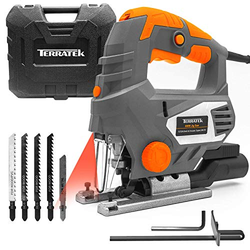 Terratek 800W Electric Jigsaw, 6 Speeds, Laser Guide, Cutting Capacity 80mm Wood, 10mm Metal, MAX...