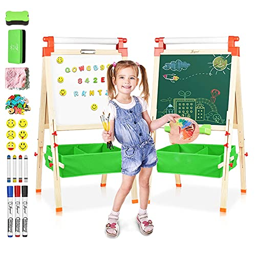 Joyooss Wooden Kid Easel with Paper Roll, Double Sided Magnetic Chalkboard and Whiteboard, Children Art Easel Adjustable Height 37-50inch, Drawing easel with Bonus Art Supplies