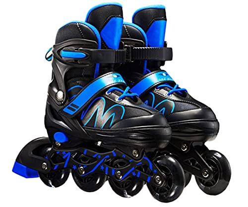XIUWOUG Herren Damen verstellbare Inliner Inlineskates,Größe 26-42 Unisex Fitness Skates für Erwachsene Rädern Rollschuhe für Jungen Mädchen Anfänger,Blau,L (37~42)