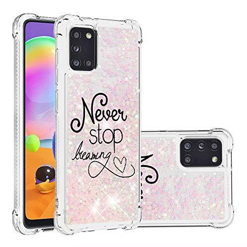 Miagon Flüssig Hülle für Samsung Galaxy A31,Glitzer Weich Treibsand Handyhülle Glitter Quicksand Silikon TPU Bumper Schutzhülle Case Cover-Rosa Traum