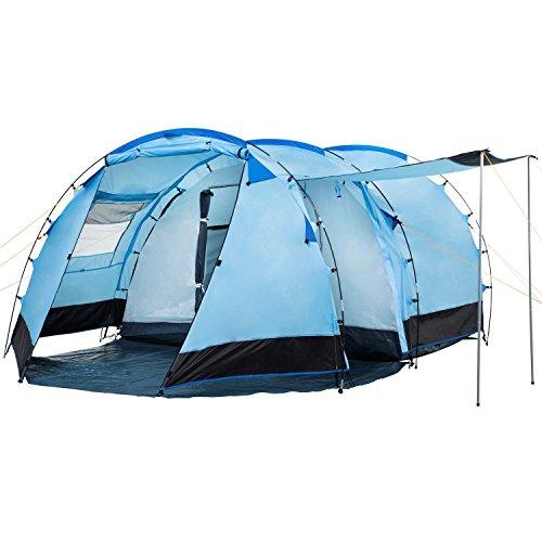CampFeuer Tunnelzelt für 4 Personen Super+ | Großes Familienzelt mit 2 Eingängen und 3.000 mm Wassersäule | Gruppenzelt | Campingzelt (Blau/Schwarz)