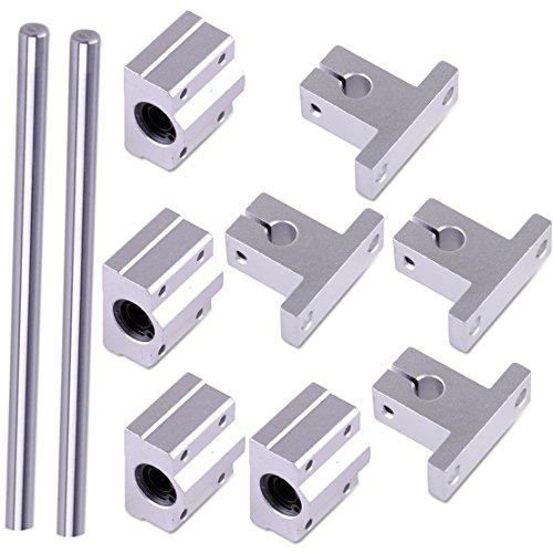 Eastar 2St. 8mm 400mm Linearwelle Stangenschienen Kit mit Lagerblock für 3D Drucker CNC Maschine