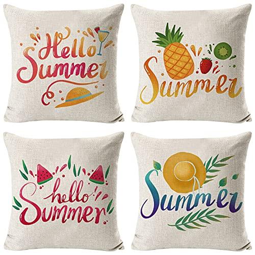 Set di 4 Federe per Cuscino 45x45 cm Fodere per cuscini con stampa estiva Fodere per cuscini in lino Federa per divano quadrato Fodera per cuscino frutta tropicale Copricuscino decorativo per giardino
