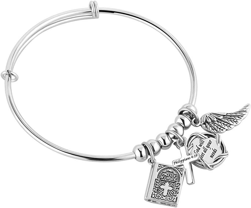 Jesse Ortega Cross Holy Bible Angel Wing Charms Expendable Inspirational Letters Stainless Steel Bangle Bracelets