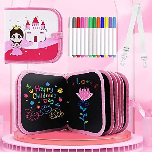 Tabla de Dibujo Portátil para Niños, Tablero de Dibujo de Graffiti, Bloc de Dibujo portátil borrable, Reutilizable,12 bolígrafos borrables de Color,14 Página (Princess)