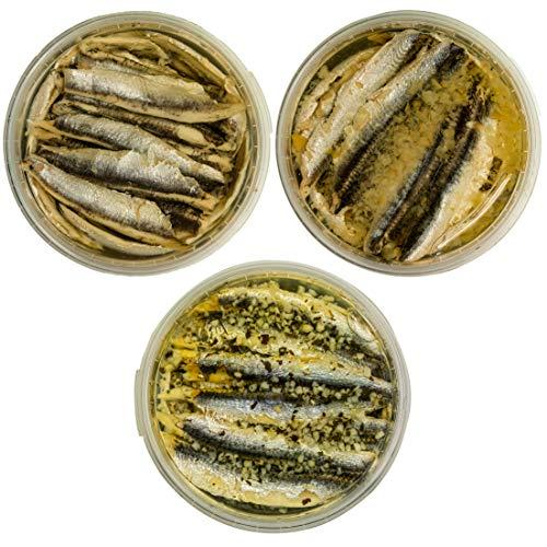 Food-United Fisch-Set-SARDELLENFILETS - 3 x 280g -Sonnenblumenöl-Sardellen & Zitronen-Sardellen & Knoblauch-Sardellen – für Pizza-Pasta-Nudeln-Antipasti-Salat saftig-zart