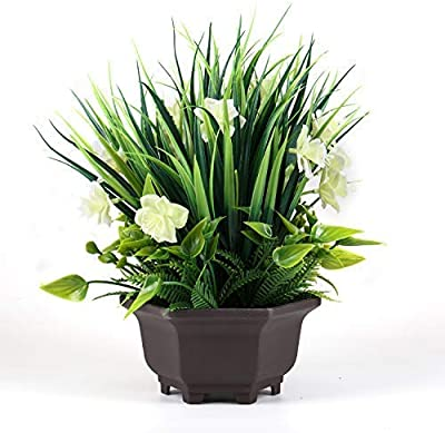 Binnny Flower Artificial Potted Plant with Gardenia Flowers in Brown Plastic Planter for Home, Office