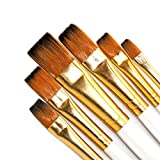 SEEFOUN Handmade Professional 6 Pcs Flat Paint Brushes Set, Wood Handle and Nylon Hair, Perfect for Acrylic, Oil, Watercolor and Gouache Painting, Nice Gift for Artists, Students & Kids