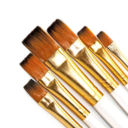 SEEFOUN 6 pcs Handmade Flat Tipped Brushes Professional Oil Paint Brush Set, Anti-Shedding Nylon Hair for Acrylic, Oil, Watercolor and Gouache, Nice Gift for Artists, Adults & Kids