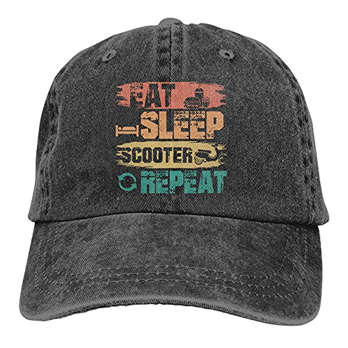 Gymini Eat Sleep Scooter Repeat Scooters Sombreros Algodón Lavable Gorras de béisbol Ajustable para Hombre Mujer Negro