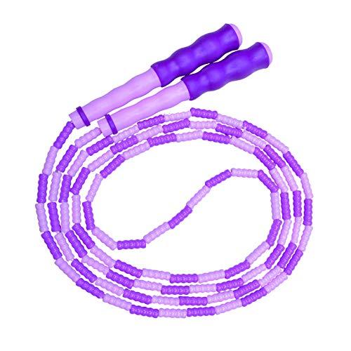 Springseil,weiches Perlen-Springseil,Fitness Springseil für Kinder,Männer und Frauen,verstellbares und verwicklungsfreies Sprungseil für das leichte Training,Gewichtsabnahme,Ausdauertraining (violett)