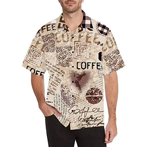 InterestPrint Men's Casual Button Down Short Sleeve Coffee Brown Lettering Hawaiian Shirt XXL