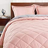 Basic Beyond Down Alternative Comforter Set (Queen, Coral/Grey) - Reversible Bed Comforter for All Season with 2 Pillow Shams