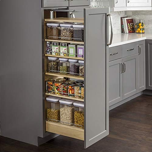 Hardware Resources PPO2-1460 Pantry Cabinet Pullout, White Birch