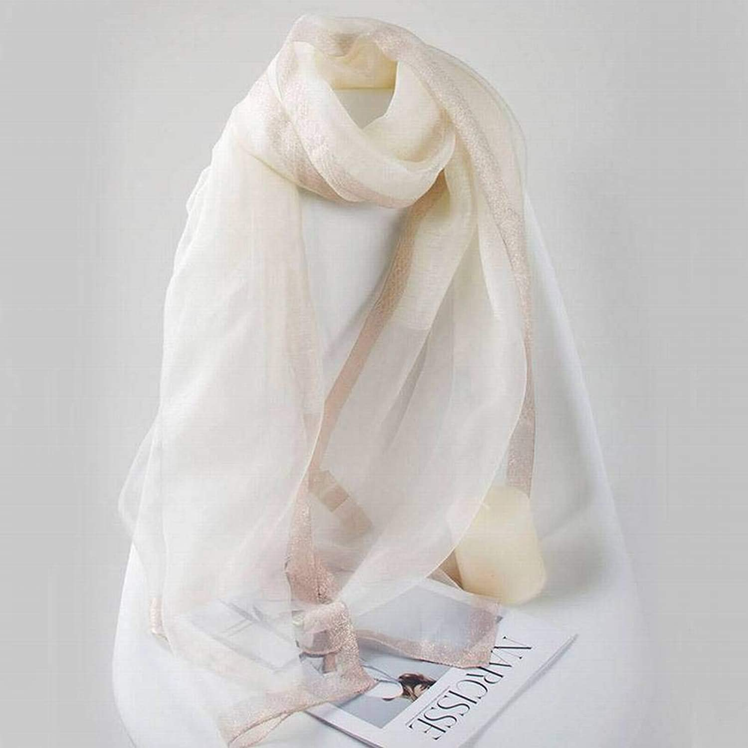 Elegant Ladies Pure color Female Warm Monochrome Long Autumn and Winter Outdoor MultiFunctional Fashion Trend Wild Warm Shawl Scarf Gift, Chuan Han, White