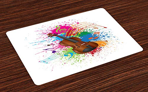 ABAKUHAUS La Musique Lot de Sets de Table en 4 pièces, Couleur Violon Art Splashes, Tissu Lavable pour Salle à Manger et Cuisine, 30 cm x 45 cm, Blanc et Multicolore