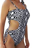 Ageeth One Shoulder Swimsuits for Women Cutout Padded One Piece Swimsuit Snakeskin S