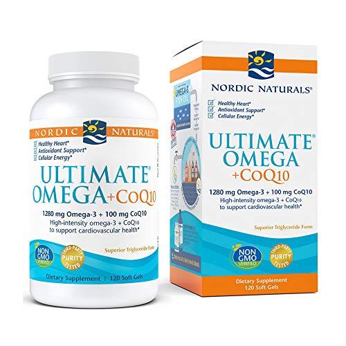 Nordic Naturals Ultimate Omega + CoQ10, Lemon - 120 Soft Gels - 1280 mg Omega-3 + 100 mg CoQ10 - Heart Health, Cellular Energy, Antioxidant Support - Non-GMO - 60 Servings