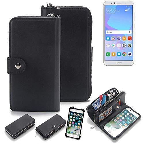K-S-Trade 2in1 Handyhülle Für Huawei Y6 (2018) Dual-SIM Schutzhülle und Portemonnee Schutzhülle Tasche Handytasche Hülle Etui Geldbörse Wallet Bookstyle Hülle Schwarz (1x)