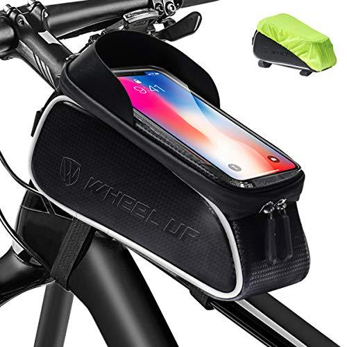 JDSUMS 自転車トップチューブバッグ フレームバッグ 防水 自転車バッグ 大容量 遮光 レインカバー付き イヤホン穴あり 6.0インチ以下のスマホ対応 タッチスクリーン 夜間安全 取り付け簡単 ロードバイク等適用