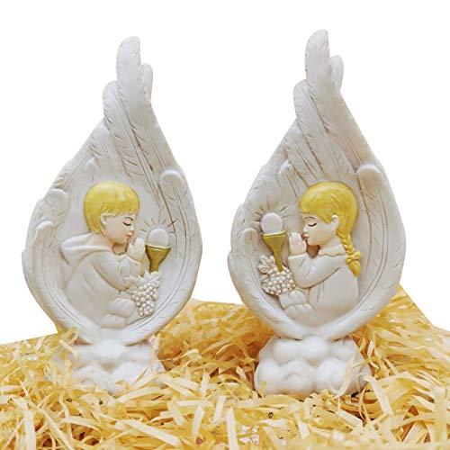 Dingyue Estatua de la Sagrada Familia Figuras coleccionables hechas a mano resina alas de ángel ornamento religioso católico regalos para unisex