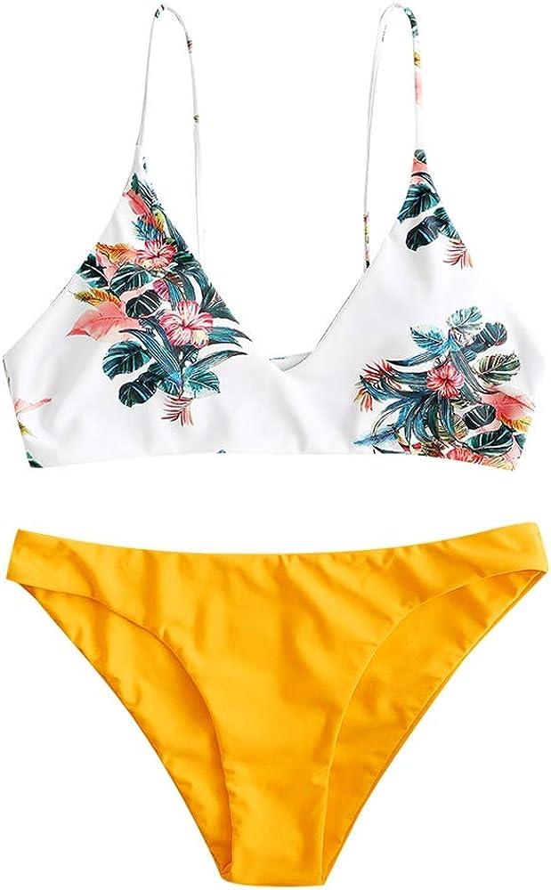 Zaful costume da bagno due pezzi per donna in nylon poliestere spandex materiale elasticizzato giallo