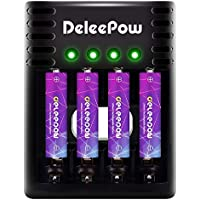 4-Pack Deleepow 1.5V Rechargeable Lithium AAA Batteries + Charger