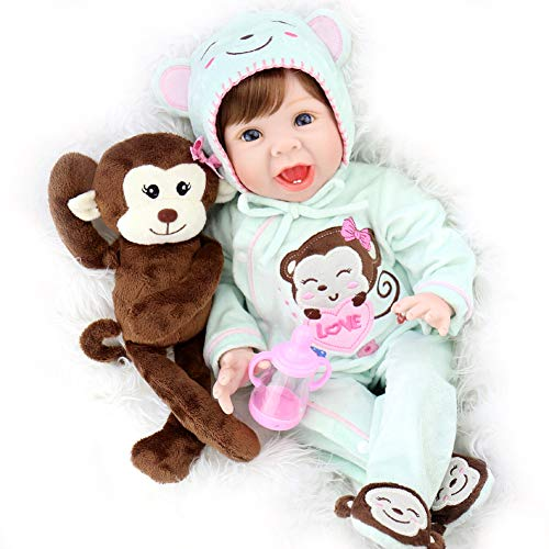 Aori Lifelike Reborn Baby Dolls 22 Inch Real Looking Weighted Reborn Boy Doll with Monkey Toy Best Birthday Set for Girls Age 3