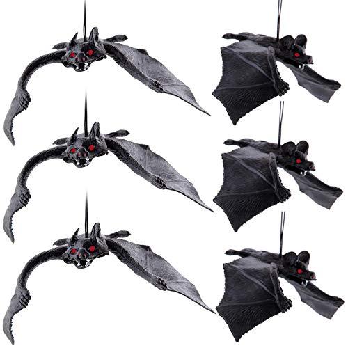 heekpek 6 PCS Decorazioni di Halloween Realistico Guardando Pipistrelli Spaventosi per i Migliori Favori di Halloween e Decorazione