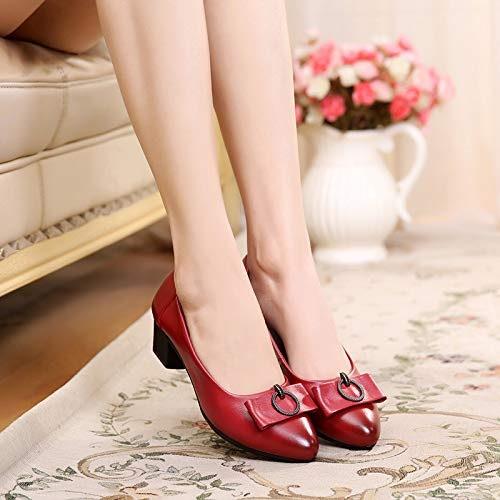 HOESCZS Printemps en Cuir Chaussures Mère Chaussures Simples avec Vieilles Chaussures pour Femmes Chaussures Simples Non-Slip Bouche Peu Profonde Chaussures pour Femmes
