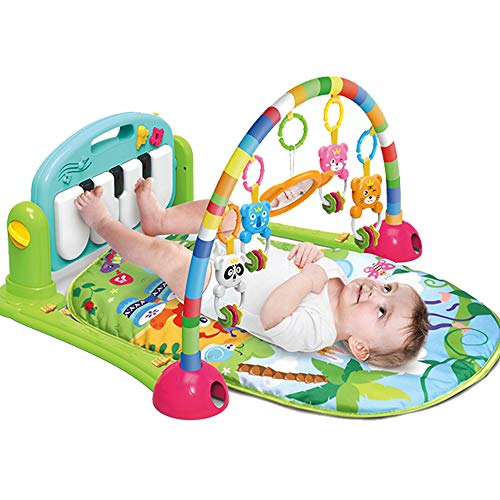 WYSWYG Baby Gym Jungle Musical Play Mats for Floor, Kick and Play Piano Gym Activity Center with Music, Lights, and Sounds Toys for Infants and Toddlers Aged 0 to 6 12Months Old (Green)