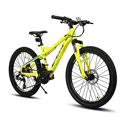 Hiland 24 Inch Youth Mountain Bike Shimano Drivetrain 21 Speed Aluminum for Boy Girl with Suspension...