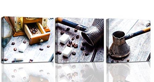 Feeby. Foto op canvas - 3 delen - afbeeldingen, muurafbeelding, muurschilderingen, kunstdruk, 3-delig, 120x40 cm, koffie, gerechten, BRUIN
