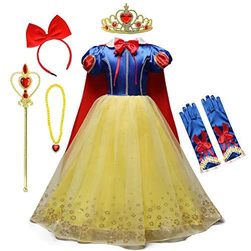 HOIZOSG Disfraz de princesa para nias pequeas, color blanco nieve, fiesta de cumpleaos, carnaval, Halloween, disfraz de Navidad, con juego de accesorios