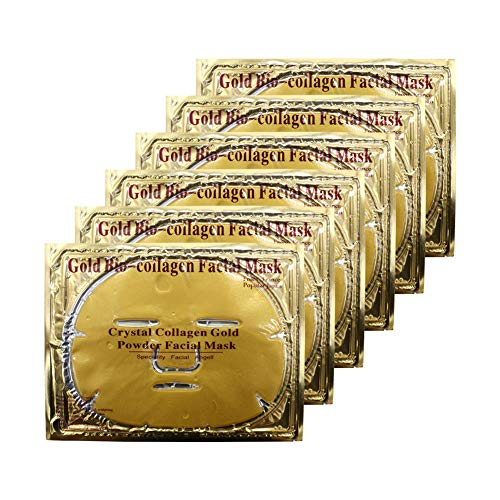 Adofect 6 Pieces 24K Gold Gel Collagen Crystal Facial Mask For Anti Aging, Puffiness, Anti Wrinkle, Moisturizing, Deep Tissue Rejuvenation & Hydrates Skin