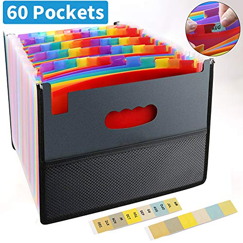 Expanding File Folder, File Folder Organizer, File Folder Organizer 60 Pockets, Multicolored Expanding Files Folder, A4 Letter Size Expandable File Box, Portable Document Organizer for Business/Office