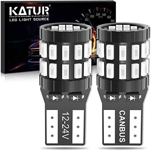 KATUR T10 W5W LED Bombilla 194 168 Superbrillante Rojo Brillante 30 * 3014 Chip 12-24V CANBUS Sin Errores Luz de matrícula de cortesía de la Puerta del Mapa del Domo del automóvil (Versión Mejorada)