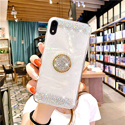 JAWSEU Compatible avec iPhone XR Coque Glitter Paillette Brillant Silicone TPU[Support de Bague] Diamant Strass Case Cristal Clair Flexible Souple Gel Bumper Case,Argent