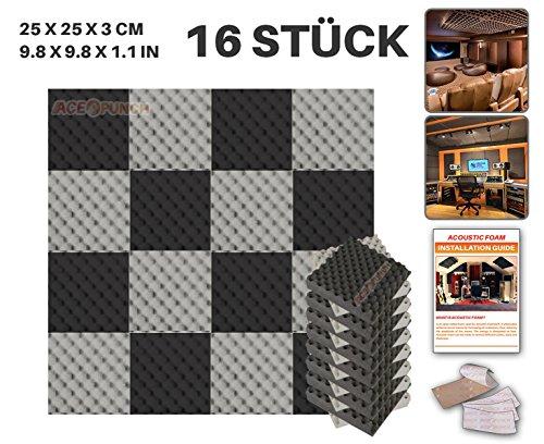 Ace Punch 16 Stuck SCHWARZ UND GRAU Eierkarton Gewellter Noppenschaumstoff Akustikschaumstoff DIY Entwurf Mit Freiem Klebestreifen 25 x 25 x 3 cm AP1052