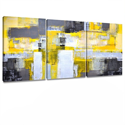 Price comparison product image Decor MI Canvas Wall Art Abstract Yellow Grey Framed Wall Art Paintings for Bedroom Living Room Office Home Decoration Modern Canvas Artwork Wall Decor Ready to Hang 12''x16'',  3 Pieces