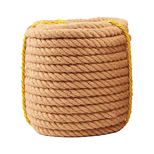 showyow Jute Rope, Natural Thick Hemp Rope Solid Braid Sisal Rope Jute Twine, for Tie/Pull/Swing/Climb and Knot,50m_6mm