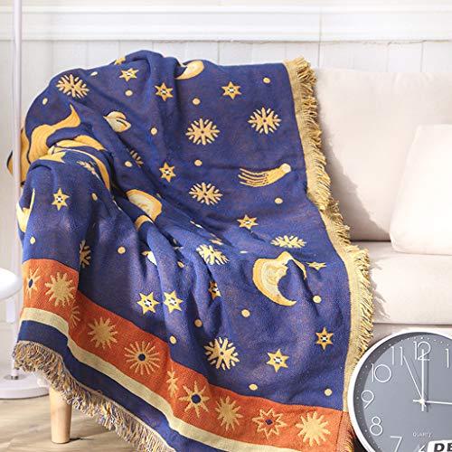AERVEAL Manta de sofá, Manta de Tiro Tejida de algodón con Estrellas de Sol y Luna, Toalla de sofá, Funda cálida de algodón