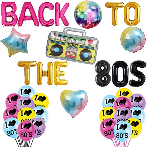 Back to the 80's Party Balloon Set. With boombox, heart, star and I loveheart 80s themes.