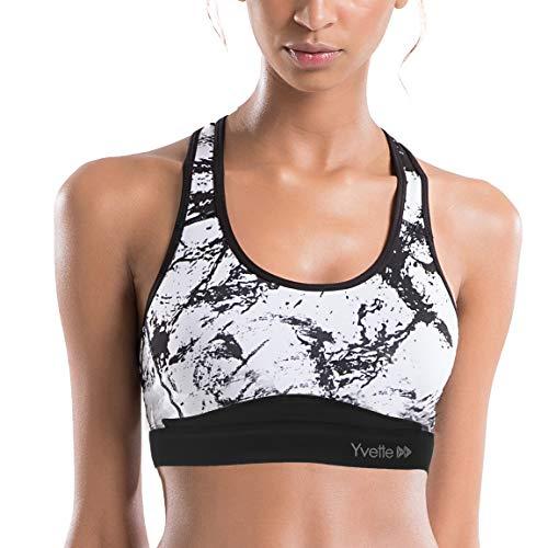 Yvette Damen Starker Halt Sport BH Gekreuzt Rücken Große Größen Ohne Bügel Bustier für Fitness Lauf Yoga, Splash Tinte, Schwarz, M(D-F) fit 80D 80E 80F