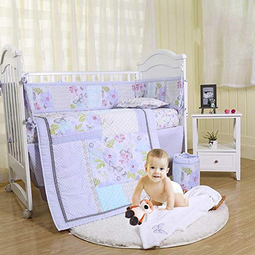 Brandream Purple Crib Bedding Sets for Girls Butterfly Crib Nursery Bedding with Bumper Pads, Floral Sweet Chic Girls Bedding 7 Piece, Hot Baby Shower Gifts