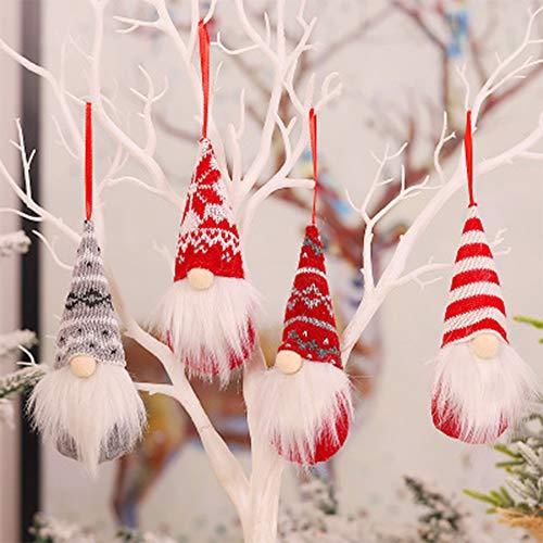 PINPOXE Gnomo de decoración navideña, Gnomo navideño, Remolque navideño, Decoración navideña decoración de Ventanas Enano Santa Claus Bosque Anciano muñeca sin Rostro árbol de Navidad Regalo
