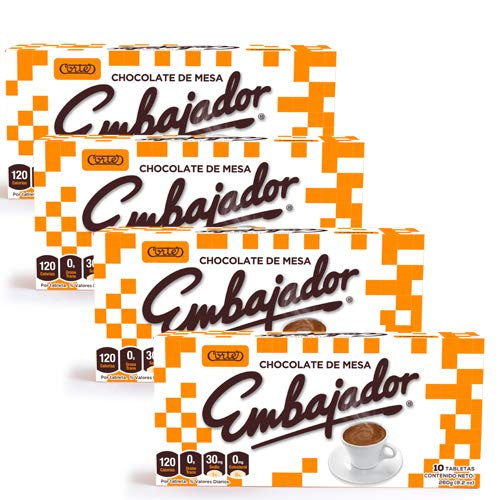 Chocolate de Mesa Embajador - Sweet baking Chocolate from Republica Dominicana - 4 Pack